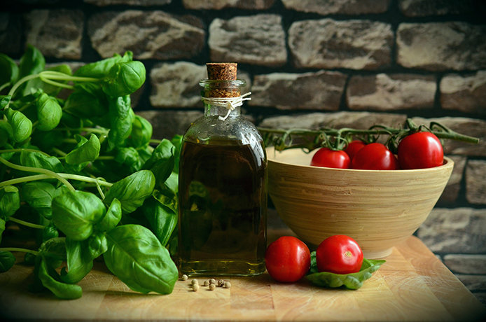 Basil, tomatoes, olive oil